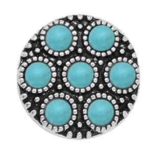 Chapado en plata turquesa de 20 mm con botón a presión de esmalte