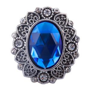 Bouton pression en métal argenté de 20 mm avec breloques en strass pour bijoux
