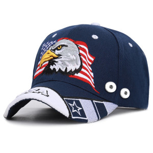 Eagle Stickerei Baseballkappe USA Sommer Sonnenschutz passen 18mm Druckknopf beige