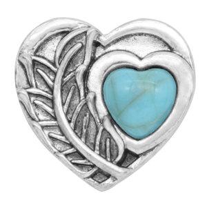 20MM Love Snap Silber Überzogen mit türkisfarbenem Druckknopf