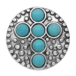 20MM Cross Snap Silber Mit türkisfarbenem Druckknopf überzogen