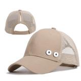 Señoras sombreros cola de caballo gorras de red de béisbol protector solar de verano ajuste 18 mm botón a presión beige