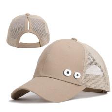 Damenhüte Pferdeschwanz Baseball Netzkappen Sommer Sonnenschutz passen 18mm Druckknopf beige
