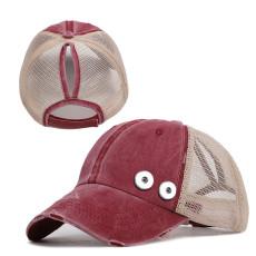 Distressed ponytail baseball cap summer sunscreen fit 18mm snap button beige