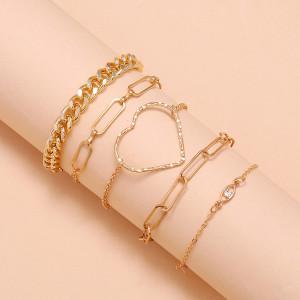 Einfache Temperament Textur große Liebe hohle herzförmige handgemachte Augen Scheibe Armband fünfteiliges Set von 5 Sätzen