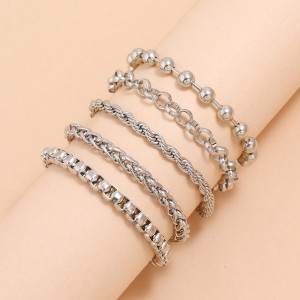Einfache Box Kette Clip Perle Kette Handgelenk Schmuck Silber Spiralmuster Paar Armband 5-teiliges Set