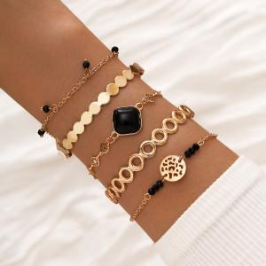 Einfaches schwarzes quadratisches Harz Diamant handgefertigt Perlen Armband 5 Stück offenes Armband