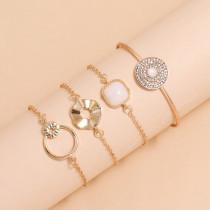 Hueco doble círculo cuadrado blanco resina diamante pulsera punto diamante abierto pulsera conjunto de 4