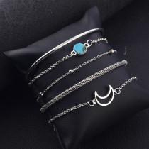 Türkis Einfaches Armband Personalisiertes Mondperlen-Kettenarmband 5-teiliges Set-Armband