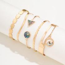 Concha de abulón, brazalete abierto triangular redondo, brazalete de olas oceánicas con patrón de ondas coloridas, juego de 5 piezas