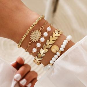 Imitation Pearl Sun Flower Leaf Leaves Achtzackiger Stern Sechszackiger Stern Armband Perlenanhänger 5 Fünfteiliges Armband