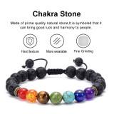 Natürliches Achat gefrostetes Vulkansteinarmband Sieben Chakra Yoga geflochtenes Armband