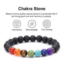 Pulsera de chakra de piedra volcánica de lava Pulsera de cuentas de energía de siete chakras coloridas de yoga