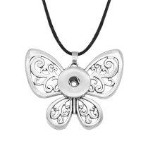 Schmetterlings-Elch-Hirsch-Halskette silber verstellbare Wachslinie passend für 20MM Brocken Druckknöpfe Schmuck