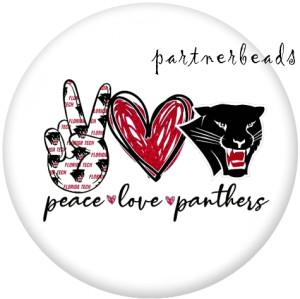 20MM Peace Love Team Drucken Sie die Druckknöpfe aus Glas