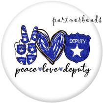 Botones a presión de vidrio con estampado de fe de amor de paz de 20 mm