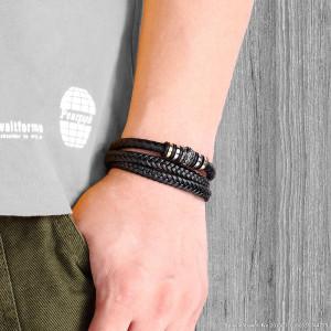 21CM Lederarmband Edelstahl Leder geflochtenes Armband