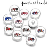 20MM  Peace  love  team   Print   glass  snaps buttons