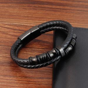 Кожаный браслет 21 см Кожаный плетеный браслет из нержавеющей стали