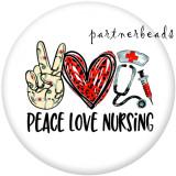 20MM  Peace  love  Faith   Print   glass  snaps buttons