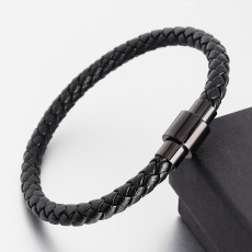 20.5 cm Lederarmband Geflochtenes Edelstahllederarmband