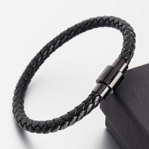 Кожаный браслет 20.5 см Кожаный плетеный браслет из нержавеющей стали