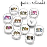 20MM  Peace  love  Faith  Cat   Print   glass  snaps buttons