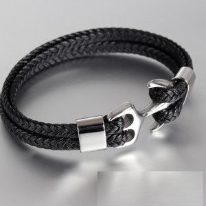 Кожаный браслет Anchor 20.5 см Кожаный плетеный браслет из нержавеющей стали