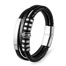 20.5CM Lederarmband Edelstahl Leder geflochtenes Armband