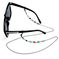Sonnenbrillen hängende Kette bunte Diamant hängende Halsseil Metall Kupfer Schneekette Maskenkette