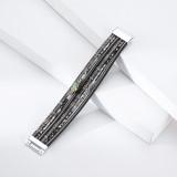 Holiday Style breites Armband Streamer Diamant mehrschichtiges Leder Schnalle Armband