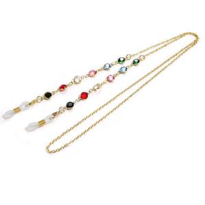 サングラスハンギングチェーンカラフルなダイヤモンドハンギングネックロープメタル銅スノーチェーンマスクチェーン