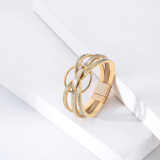 Minimalist multi-layer geometric ring magnetic buckle leather bracelet Light luxury symmetrical leather jewelry bracelet