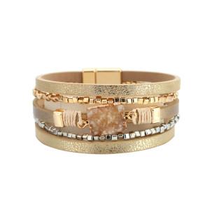 Böhmisches mehrschichtiges Lederkristallsteinarmband, symmetrisches mehrschichtiges Lederarmband aus Gold und Silber