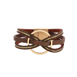 Bracelet en cuir à boucle magnétique bague géométrique multicouche minimaliste Bracelet de bijoux en cuir symétrique de luxe léger