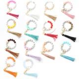 Bracelet de perles de Silicone de qualité alimentaire nouvelle perle en bois poignet porte-clés pendentif Anti-perdu Bracelet porte-clés