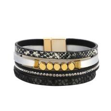 Schlangenmuster mehrschichtiges Leder Magnetschnalle Armband weibliches böhmisches Leder Wicklung Persönlichkeitskette Armband