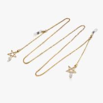 Beliebte Metallbrille Seil goldene Fünf-Sterne-Perle Anhänger Brille Kette Anti-Lost hängenden Hals (fünfzackiger Stern + Perlen)
