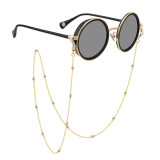 Cordón de cadena de gafas de metal de circón chapado en oro grueso accesorios de gafas de cordón de cuerda de gafas personalizadas (15 diamantes blancos)