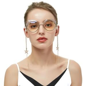 Популярные металлические очки веревка золотая пятизвездочная жемчужная подвеска цепочка для очков анти-потерянная свисающая шея (пятиконечная звезда + бусины)
