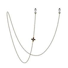 Kupfer Retro Metall Brille Kette Brille Seil Neckholder Hals Sonnenbrille Kette (einseitige vierblättrige Blume)
