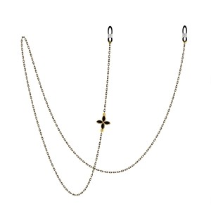 Медная цепочка для очков в стиле ретро, металлическая цепочка для очков, веревка на шее, цепочка для солнцезащитных очков (односторонний четырехлистный цветок)