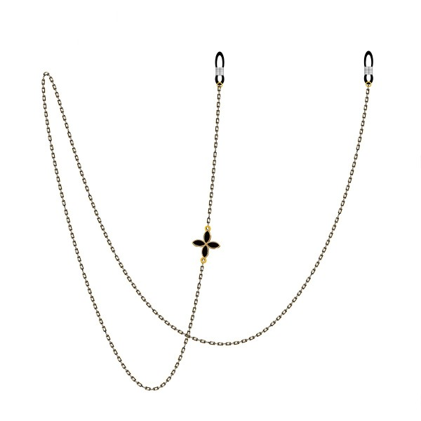 Cadena de gafas de metal retro de cobre cadena de gafas de sol de cuello halter de cuerda (flor unilateral de cuatro hojas)