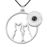 Collar con cruz de ala de amor de gato, ajuste plateado, trozos de 20 mm, broches de presión, joyería