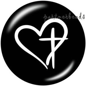 20MMダンスミュージックラブプリントガラススナップボタン