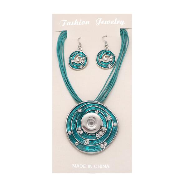 ファッションの絶妙なレトロなパターンの滴るオイルとダイヤモンドのイヤリングネックレスセットは18&20MMスナップボトムにフィットします