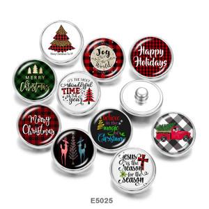 20MMクリスマスプリントガラススナップボタン