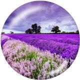 Botones a presión de vidrio con estampado de flores de 20 mm
