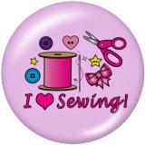 Botones a presión de vidrio Love to Sew Print de 20 mm