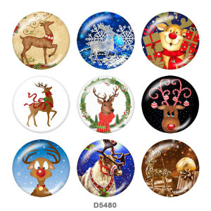 Botones a presión de vidrio con estampado de ciervos navideños de 20 mm